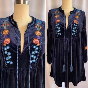 Zara Velvet Floral Embroidered Mini Babydoll Dress